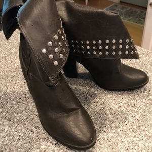 Toi Et Moi Studded Fold Over Black Ankle Boots